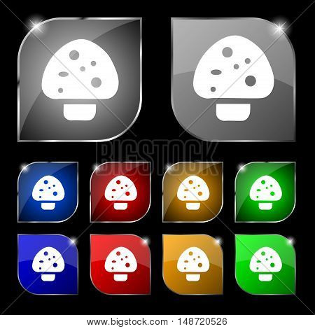 Mushroom Icon Sign. Set Of Ten Colorful Buttons With Glare. Vector