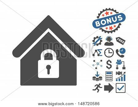 Lock Building pictograph with bonus pictogram. Vector illustration style is flat iconic bicolor symbols, cobalt and gray colors, white background.