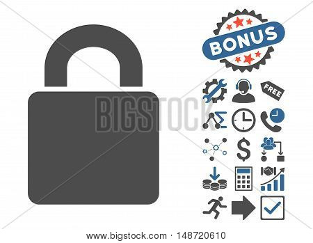 Lock pictograph with bonus design elements. Vector illustration style is flat iconic bicolor symbols, cobalt and gray colors, white background.