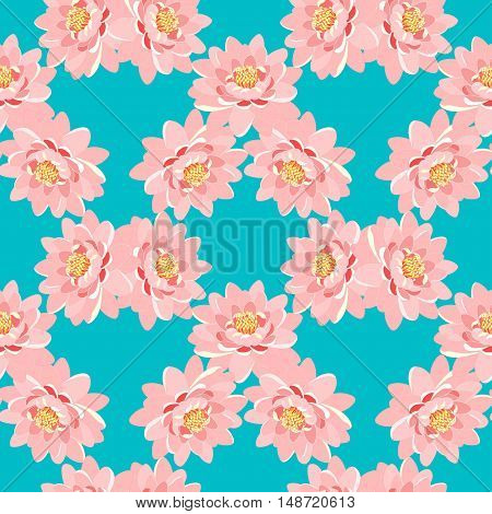Seamless Pattern The Lotus Flower Pink On A Blue Background. Vector Illustration