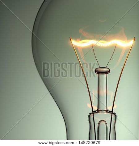 Light bulb with glow. 3D illustration