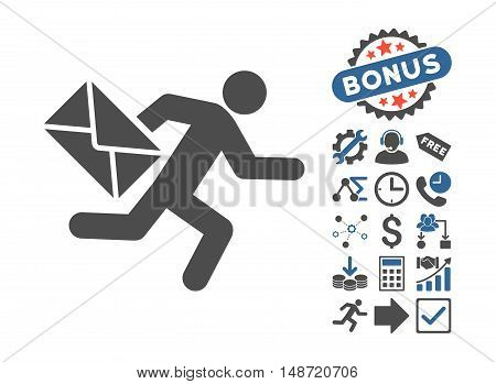 Mail Courier pictograph with bonus clip art. Vector illustration style is flat iconic bicolor symbols, cobalt and gray colors, white background.