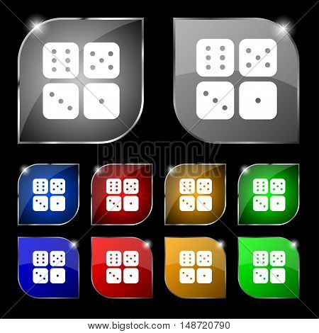 Dices Icon Sign. Set Of Ten Colorful Buttons With Glare. Vector