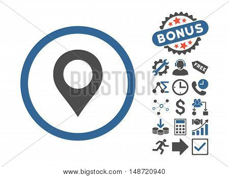 Map Marker pictograph with bonus symbols. Vector illustration style is flat iconic bicolor symbols, cobalt and gray colors, white background.