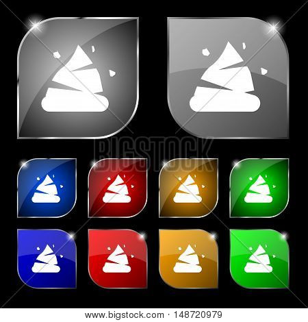 Poo Icon Sign. Set Of Ten Colorful Buttons With Glare. Vector
