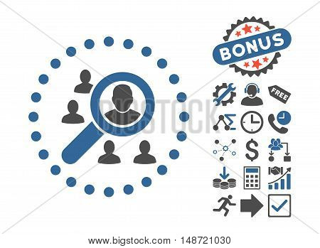 Marketing icon with bonus pictograph collection. Vector illustration style is flat iconic bicolor symbols, cobalt and gray colors, white background.