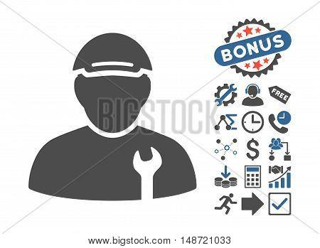 Mechanic icon with bonus symbols. Vector illustration style is flat iconic bicolor symbols, cobalt and gray colors, white background.