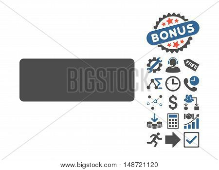Minus icon with bonus clip art. Vector illustration style is flat iconic bicolor symbols, cobalt and gray colors, white background.