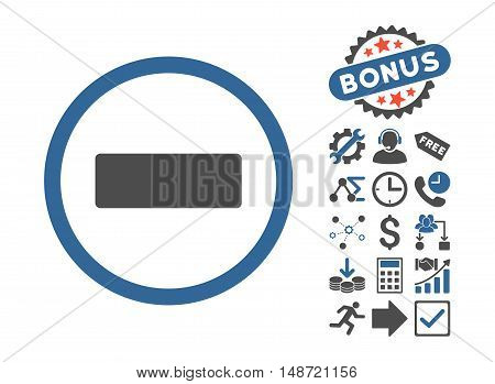 Minus icon with bonus pictograph collection. Vector illustration style is flat iconic bicolor symbols, cobalt and gray colors, white background.