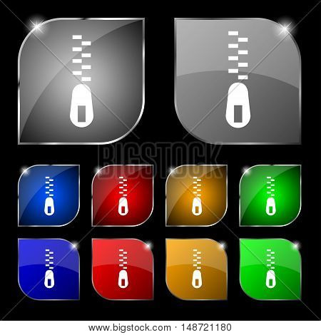 Zipper Icon Sign. Set Of Ten Colorful Buttons With Glare. Vector