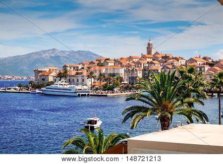 Ferry boat in harbor at Korcula Croatia