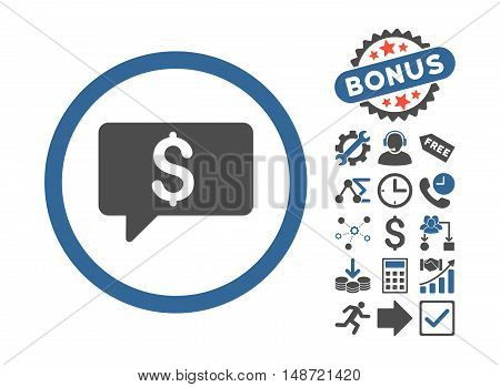 Money Message icon with bonus pictogram. Vector illustration style is flat iconic bicolor symbols, cobalt and gray colors, white background.