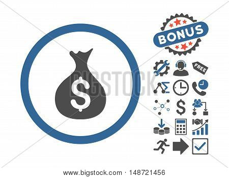 Money Sack pictograph with bonus symbols. Vector illustration style is flat iconic bicolor symbols, cobalt and gray colors, white background.