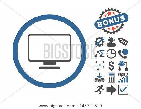 Monitor icon with bonus pictures. Vector illustration style is flat iconic bicolor symbols, cobalt and gray colors, white background.