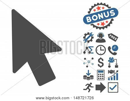 Mouse Pointer pictograph with bonus symbols. Vector illustration style is flat iconic bicolor symbols, cobalt and gray colors, white background.