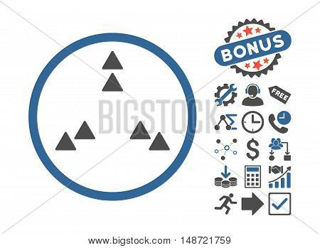 Move Out icon with bonus pictures. Vector illustration style is flat iconic bicolor symbols, cobalt and gray colors, white background.