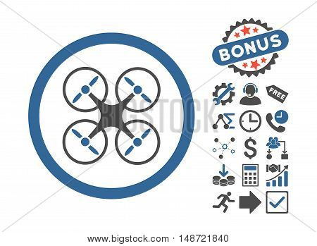 Nanocopter icon with bonus elements. Vector illustration style is flat iconic bicolor symbols, cobalt and gray colors, white background.