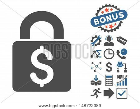 Pay Lock pictograph with bonus pictogram. Vector illustration style is flat iconic bicolor symbols, cobalt and gray colors, white background.