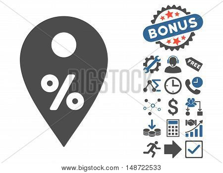Percent Map Marker pictograph with bonus icon set. Vector illustration style is flat iconic bicolor symbols, cobalt and gray colors, white background.