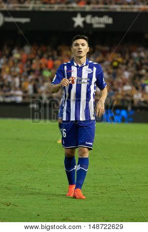VALENCIA, SPAIN - SEPTEMBER 22nd: Torres during Spanish soccer league match between Valencia CF and Deportivo Alaves at Mestalla Stadium on September 22, 2016 in Valencia, Spain