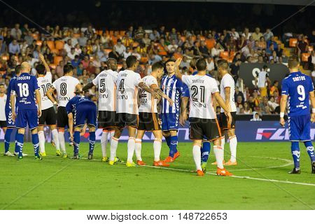VALENCIA, SPAIN - SEPTEMBER 22nd: Players during Spanish soccer league match between Valencia CF and Deportivo Alaves at Mestalla Stadium on September 22, 2016 in Valencia, Spain