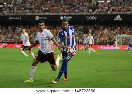 VALENCIA, SPAIN - SEPTEMBER 22nd: Deyverson (20) during Spanish soccer league match between Valencia CF and Deportivo Alaves at Mestalla Stadium on September 22, 2016 in Valencia, Spain