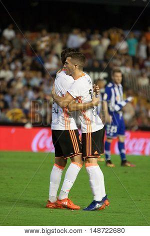 VALENCIA, SPAIN - SEPTEMBER 22nd: Munir (L) and Gaya (R) during Spanish soccer league match between Valencia CF and Deportivo Alaves at Mestalla Stadium on September 22, 2016 in Valencia, Spain