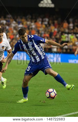 VALENCIA, SPAIN - SEPTEMBER 22nd: Theo during Spanish soccer league match between Valencia CF and Deportivo Alaves at Mestalla Stadium on September 22, 2016 in Valencia, Spain