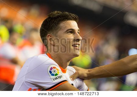 VALENCIA, SPAIN - SEPTEMBER 22nd: Santi Mina during Spanish soccer league match between Valencia CF and Deportivo Alaves at Mestalla Stadium on September 22, 2016 in Valencia, Spain