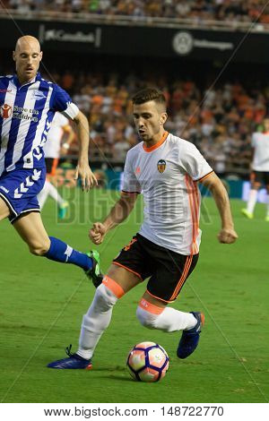 VALENCIA, SPAIN - SEPTEMBER 22nd: Gaya with ball during Spanish soccer league match between Valencia CF and Deportivo Alaves at Mestalla Stadium on September 22, 2016 in Valencia, Spain