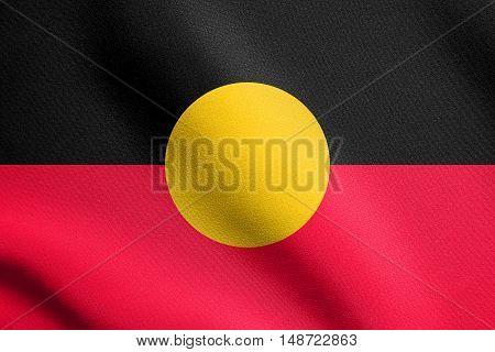 Australian Aboriginal official flag. Commonwealth of Australia patriotic symbol banner element background. Australian Aboriginal flag waving in the wind with detailed fabric texture, illustration
