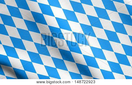 Bavarian official flag symbol banner element. Oktoberfest checkered background with blue and white rhombus. Flag of Bavaria waving in the wind with detailed fabric texture, illustration