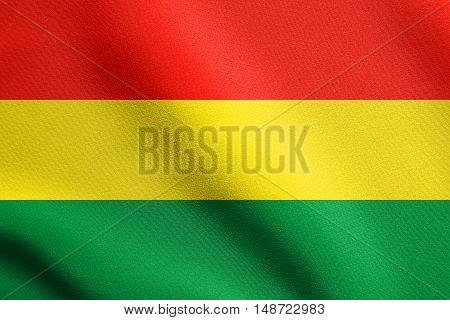Bolivian national official flag. Patriotic symbol banner element background. Flag of Bolivia waving in the wind with detailed fabric texture, illustration