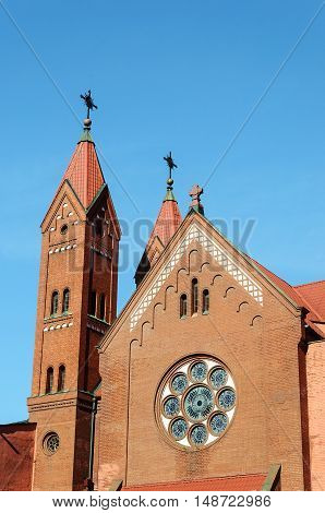 Top of Roman catholic church of St.Simon and St.Helena in Minsk Belarus