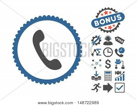 Phone icon with bonus symbols. Vector illustration style is flat iconic bicolor symbols, cobalt and gray colors, white background.