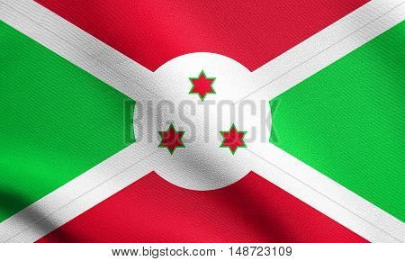 Burundian national official flag. African patriotic symbol banner element background. Flag of Burundi waving in the wind with detailed fabric texture, illustration