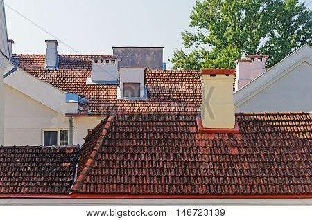 Tiled roofs of houses in Trinity Suburb old part of Minsk Belarus