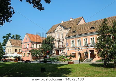 Old houses with tiled roofs in Trinity Suburb old part of Minsk Belarus