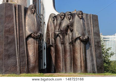 Minsk, Belarus - September 12, 2016: Fragment of Monument to soldiers-Afghans on the Island of Courage and Sorrow (Island of Tears)