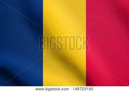 Chadian national official flag. African patriotic symbol banner element background. Flag of Chad waving in the wind with detailed fabric texture, illustration