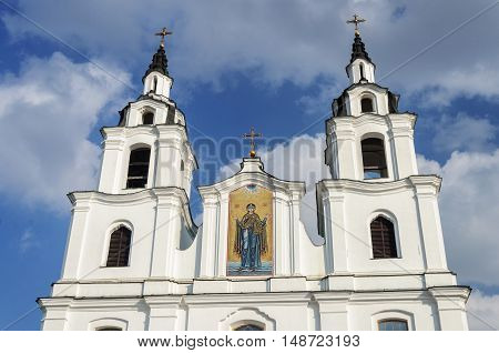 Facade of Cathedral of the Descent of the Holy Spirit in Minsk Belarus