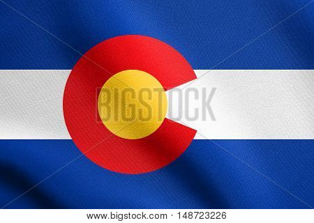 Colorado official symbol. American patriotic element. USA banner. United States of America background. Flag of the US state of Colorado waving in the wind with detailed fabric texture, illustration
