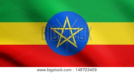 Ethiopian national official flag. African patriotic symbol banner element background. Flag of Ethiopia waving in the wind with detailed fabric texture, illustration