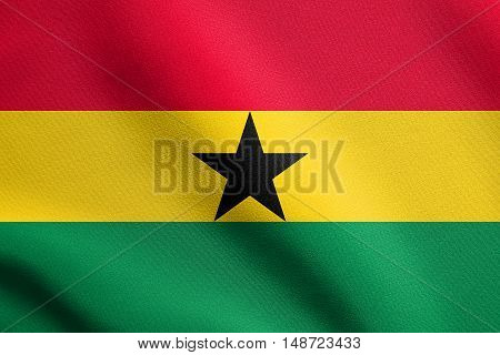 Ghanaian national official flag. African patriotic symbol banner element background. Flag of Ghana waving in the wind with detailed fabric texture, illustration