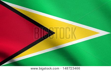 Guyanan national official flag. Patriotic symbol banner element background. Flag of Guyana waving in the wind with detailed fabric texture, illustration
