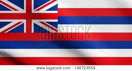 Hawaiian official flag symbol. American patriotic element. USA banner. United States of America background. Flag of the US state of Hawaii waving in the wind with detailed fabric texture, illustration