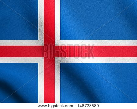 Icelandic national official flag. Patriotic symbol banner element background. Flag of Iceland waving in the wind with detailed fabric texture, illustration