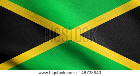 Jamaican national official flag. Patriotic symbol banner element background. Flag of Jamaica waving in the wind with detailed fabric texture, illustration