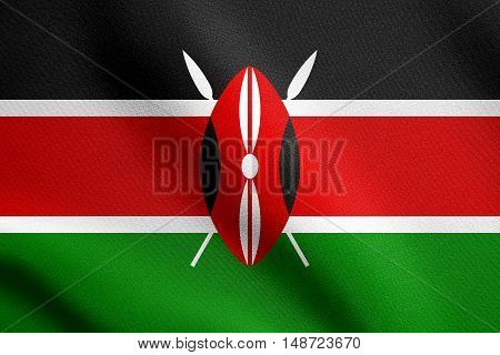 Kenyan national official flag. African patriotic symbol banner element background. Flag of Kenya waving in the wind with detailed fabric texture, illustration