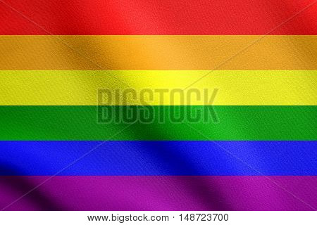 Rainbow gay pride flag. Symbol of LGBT movement. Gay banner element background. Rainbow flag waving in the wind with detailed fabric texture, illustration